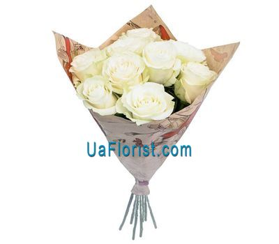 """9 white roses decorated"" in the online flower shop uaflorist.com"