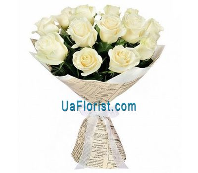 """Bouquet of 15 white roses"" in the online flower shop uaflorist.com"