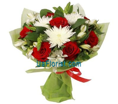 """Bouquet of 7 roses, 3 chrysanthemums, 7 alstroemerias"" in the online flower shop uaflorist.com"