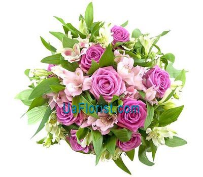 """Bouquet of 9 roses and 10 alstroemeriums"" in the online flower shop uaflorist.com"