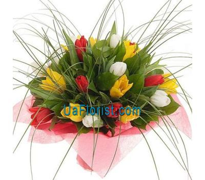 """""""Bouquet of 23 tulips with greens"""" in the online flower shop uaflorist.com"""