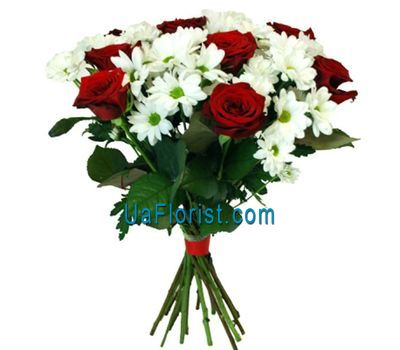 """Bouquet of 7 roses and 4 chrysanthemums"" in the online flower shop uaflorist.com"