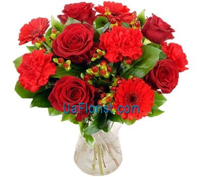 """Bouquet of 3 gerberas, 6 roses and 4 carnations"" in the online flower shop uaflorist.com"