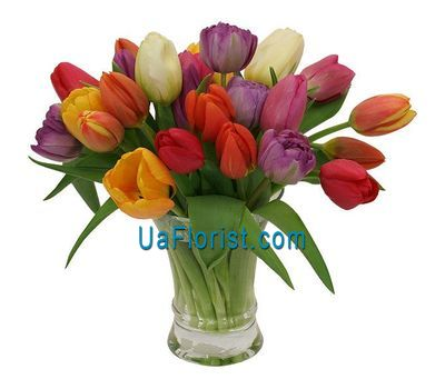 """A bouquet of 29 colorful tulips"" in the online flower shop uaflorist.com"