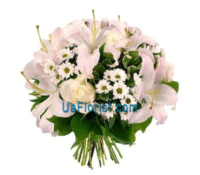 """Bouquet of 7 roses, 3 lilies, 9 chrysanthemums"" in the online flower shop uaflorist.com"