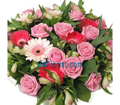 """Bouquet of 15 roses, 10 alstroemerias and 7 gerberas"" in the online flower shop uaflorist.com"