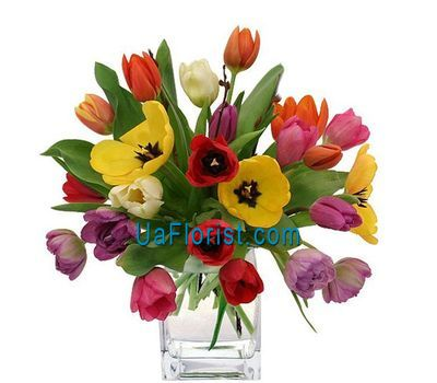 """Bouquet of 25 colorful tulips"" in the online flower shop uaflorist.com"