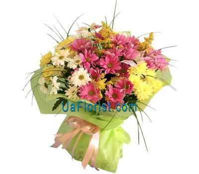 """Bouquet of flowers with 11 chamomile chrysanthemums"" in the online flower shop uaflorist.com"