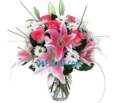 """""""Букет из 4 хризантем, 5 роз и 2 лилии"""" в интернет-магазине цветов uaflorist.com"""
