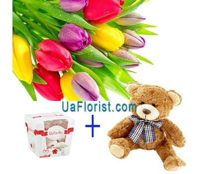 """11 tulips, mouse and candy"" in the online flower shop uaflorist.com"