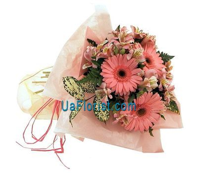 """A bouquet of 3 gerberas and 6 alstroemerias"" in the online flower shop uaflorist.com"