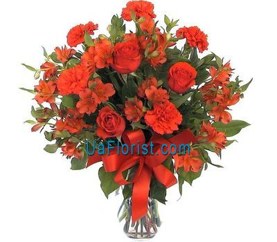 """""""Bouquet of 3 roses, 9 alstroemerias and 5 carnations"""" in the online flower shop uaflorist.com"""
