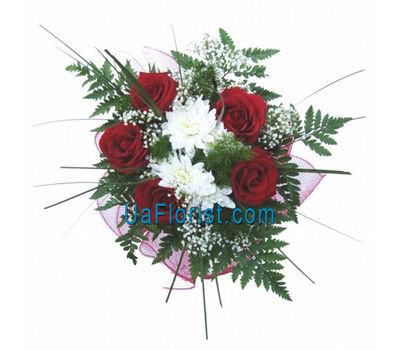 """Bouquet of flowers from 5 roses and 2 chrysanthemums"" in the online flower shop uaflorist.com"