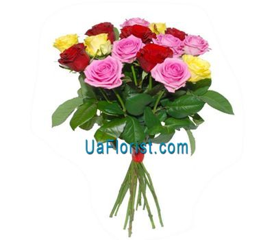 """""""15 разноцветных роз"""" в интернет-магазине цветов uaflorist.com"""