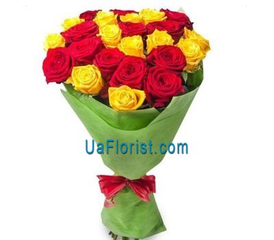 """25 red and yellow roses"" in the online flower shop uaflorist.com"
