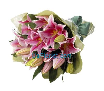 """""""A bunch of flowers of 5 pink lilies"""" in the online flower shop uaflorist.com"""