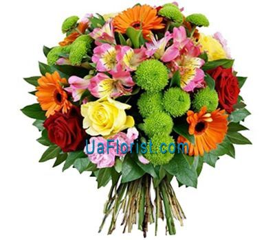 """Bouquet of 5 gerberas, 6 roses, 5 alstroemerias and 3 chrysanthemums"" in the online flower shop uaflorist.com"