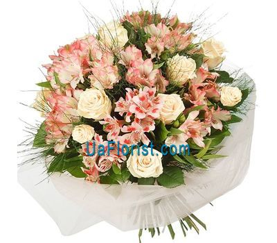 """A bunch of flowers of 5 roses and 4 alstroemerias"" in the online flower shop uaflorist.com"