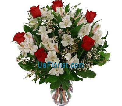 """Bouquet of flowers from 6 roses and 11 alstroemeriums"" in the online flower shop uaflorist.com"