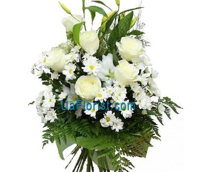 """Bouquet of 6 chrysanthemums, 1 lily and 6 roses"" in the online flower shop uaflorist.com"