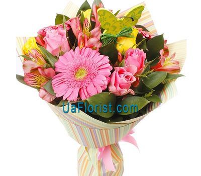 """""""A bunch of flowers of 9 roses and 4 lilies"""" in the online flower shop uaflorist.com"""