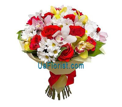 """Bouquet of 13 roses, 9 orchids and 8 chrysanthemums"" in the online flower shop uaflorist.com"