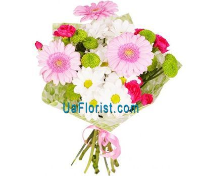 """Bouquet of 3 hetrers, 4 chrysanthemums and 3 cloves"" in the online flower shop uaflorist.com"