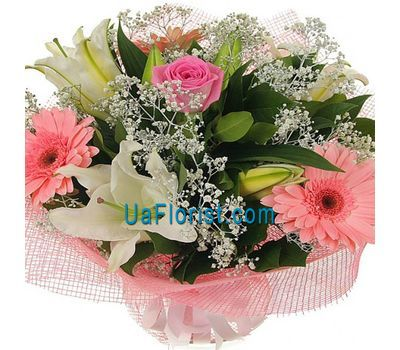 """""""Bouquet of 1 rose, 3 gerberas and 1 lily"""" in the online flower shop uaflorist.com"""