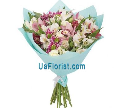 """Bouquet of 5 Oriya, 3 Chrysanthemums and 5 Alstroemerias"" in the online flower shop uaflorist.com"