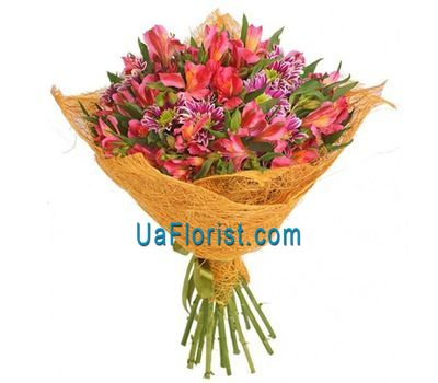 """A bunch of 10 alstroemerias and 5 chrysanthemums"" in the online flower shop uaflorist.com"