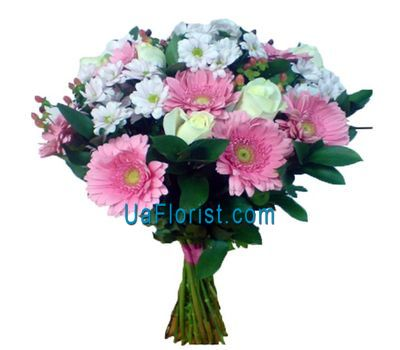 """Bouquet of 9 gerberas, 7 roses and 5 chrysanthemums"" in the online flower shop uaflorist.com"