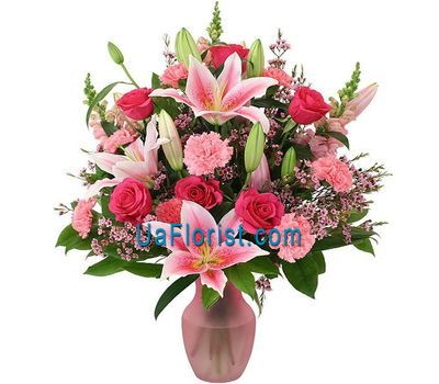 """""""A bouquet of 3 lily flowers, 6 roses and 12 carnations"""" in the online flower shop uaflorist.com"""