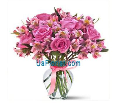 """Bouquet of 3 roses, 3 gerberas and 3 lilies"" in the online flower shop uaflorist.com"