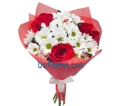 """Bouquet of 3 roses and 4 chrysanthemums"" in the online flower shop uaflorist.com"