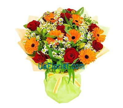 """Bouquet of 9 roses, 7 gerberas and 5 alstroemerias"" in the online flower shop uaflorist.com"