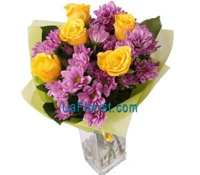 """Bouquet of 5 roses and 4 bush chrysanthemums"" in the online flower shop uaflorist.com"