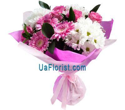 """A bunch of flowers of 3 gerberas, 3 alstroemerias and 1 chrysanthemum"" in the online flower shop uaflorist.com"