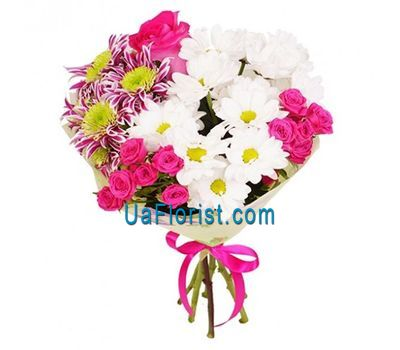 """Bouquet of 3 chrysanthemums, 2 bush roses and 1 rose"" in the online flower shop uaflorist.com"