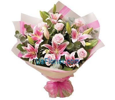 """Bouquet of flowers from 9 roses and 2 lilies"" in the online flower shop uaflorist.com"