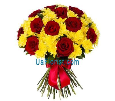 """Bouquet of 11 roses and 6 chrysanthemums"" in the online flower shop uaflorist.com"