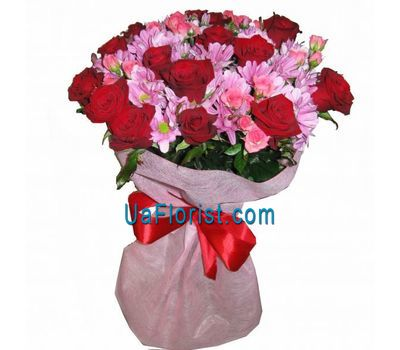 """Bouquet of 20 roses and 5 chrysanthemums"" in the online flower shop uaflorist.com"