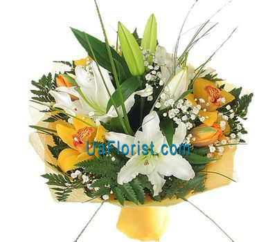 """A bunch of flowers of 5 orchids and 2 lilies"" in the online flower shop uaflorist.com"