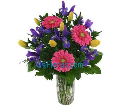 """Spring bouquet of irises and gerberas flowers"" in the online flower shop uaflorist.com"