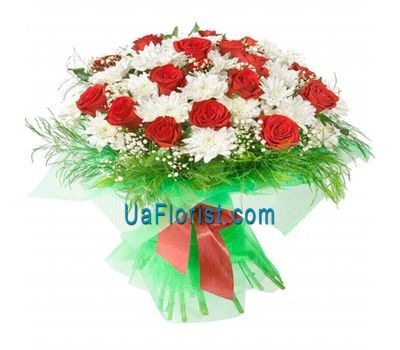 """Bouquet of 11 chrysanthemums and 24 roses"" in the online flower shop uaflorist.com"