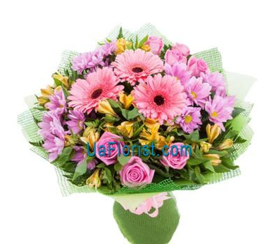 """Bouquet of 7 roses, 3 chrysanthemums, 6 alstroemerias and 3 gerberas"" in the online flower shop uaflorist.com"