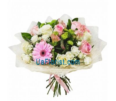 """Bouquet of 10 roses, 3 bush roses, 3 alstroemerias, 2 chrysanthemums and 1 gerberas"" in the online flower shop uaflorist.com"