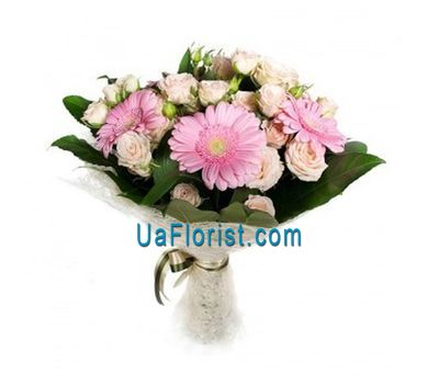 """Bouquet of 5 gerberas, 6 bush roses"" in the online flower shop uaflorist.com"