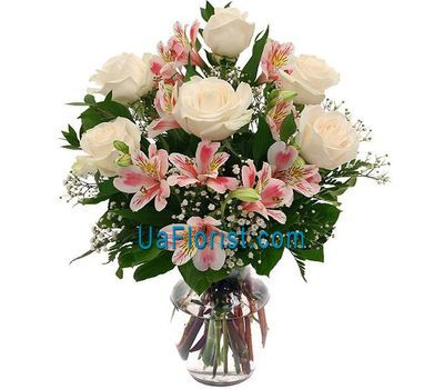 """Bouquet of flowers from 6 roses and 5 alstroemerias"" in the online flower shop uaflorist.com"