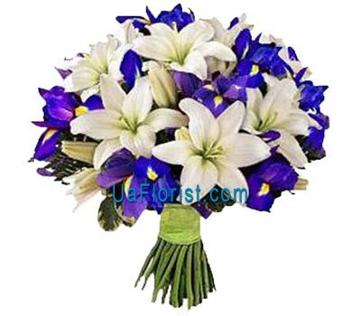 """A bunch of 16 irises and 5 lilies"" in the online flower shop uaflorist.com"