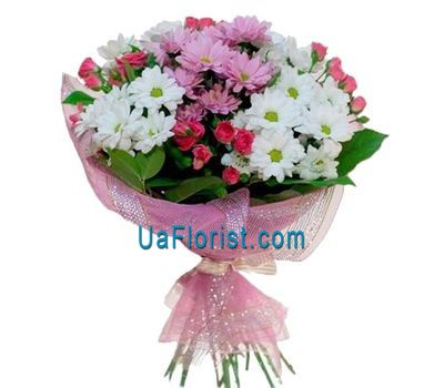 """Bouquet of 4 rose roses and 5 chrysanthemums"" in the online flower shop uaflorist.com"